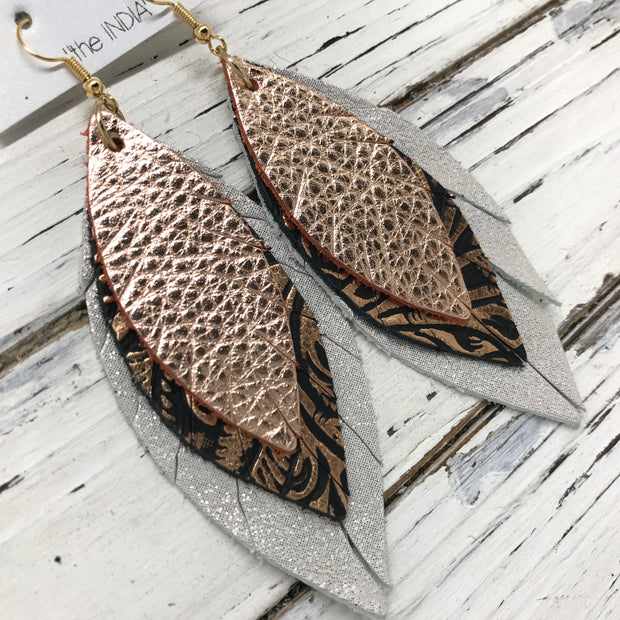 INDIA - Leather Earrings  ||   METALLIC ROSE GOLD, METALLIC COPPER FLORAL, SHIMMER ROSE GOLD