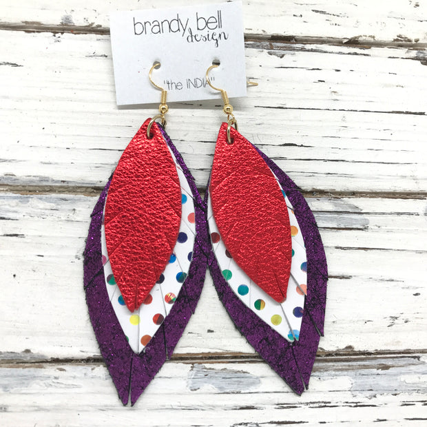 INDIA - Leather Earrings  ||   METALLIC RED, MULTICOLOR DOTS, SHIMMER FUCHSIA