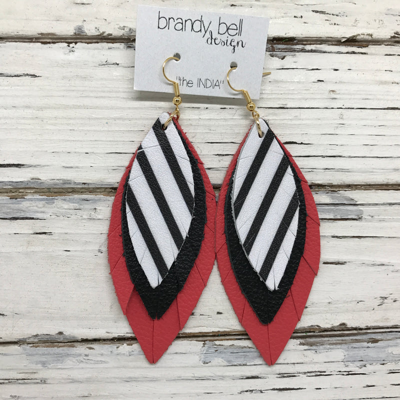 INDIA - Leather Earrings  ||   BLACK & WHITE STRIPE, MATTE BLACK, CORAL