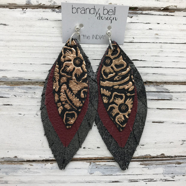 INDIA - Leather Earrings  ||   METALLIC COPPER FLORAL, MATTE BURGUNDY, DISTRESSED BLACK & SILVER