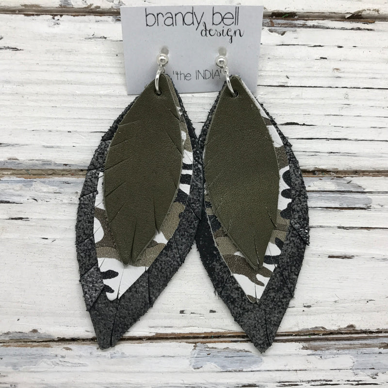 INDIA - Leather Earrings  ||   MATTE OLIVE GREEN, CAMO, DISTRESSED BLACK & SILVER