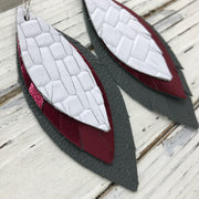 INDIA - Leather Earrings  ||  WHITE BASKETWEAVE, METALLIC BURGUNDY, MATTE DARK GRAY