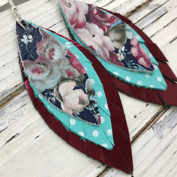 INDIA - Leather Earrings  ||  VINTAGE FLORAL, AQUA WITH WHITE POLKADOTS, METALLIC BURGUNDY