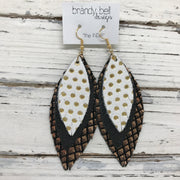INDIA - Leather Earrings  ||  WHITE WITH GOLD POLKADOTS, MATTE BLACK, BLACK WITH METALLIC COPPER MERMAID