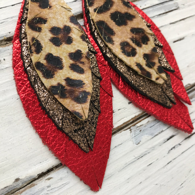 INDIA - Leather Earrings  ||  CHEETAH, SHIMMER COPPER, METALLIC RED PEBBLED