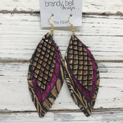 INDIA - Leather Earrings  || METALLIC COPPER MERMAID, SHIMMER MAGENTA, METALLIC COPPER FLORAL ON BLACK