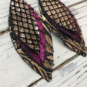 INDIA - Leather Earrings  ||  BLACK & METALLIC COPPER MERMAID, SHIMMER MAGENTA, METALLIC COPPER FLORAL
