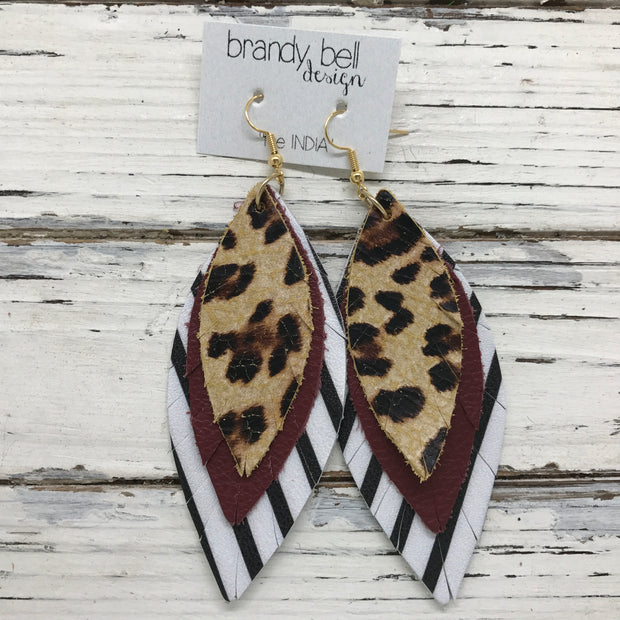 INDIA - Leather Earrings  ||  CHEETAH, MATTE BURGUNDY, BLACK & WHITE STRIPE