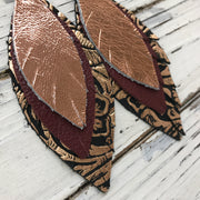 INDIA - Leather Earrings  ||  METALLIC COPPER, MATTE BURGUNDY, METALLIC OPPER FLORAL