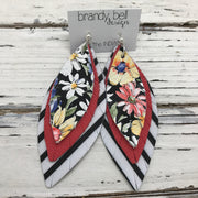 INDIA - Leather Earrings  ||  BLACK FLORAL, CORAL, BLACK & WHITE STRIPE