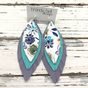 INDIA - Leather Earrings  ||  FLORAL, MATTE ROBINS EGG BLUE, MATTE LAVENDER