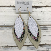 INDIA - Leather Earrings  ||  WHITE BASKETWEAVE, BLACK MINI FLORAL, SHIMMER GOLD