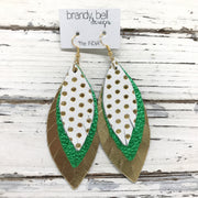 INDIA - Leather Earrings  ||  WHITE WITH GOLD POLKADOTS, METALLIC BRIGHT GREEN, METALLIC GOLD