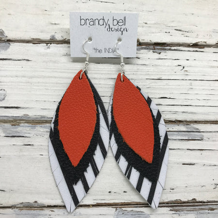 INDIA - Leather Earrings  ||  MATTE ORANGE, MATTE BLACK, WHITE & BLACK STRIPE