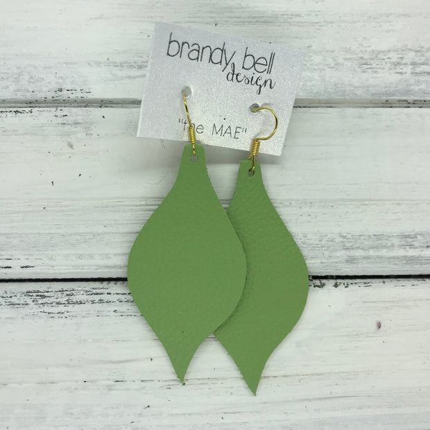 MAE - Leather Earrings  || MATTE  SPRING GREEN