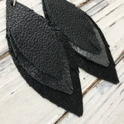 INDIA - Leather Earrings  ||  MATTE BLACK, DISTRESSED BLACK & SILVER, SHIMMER BLACK