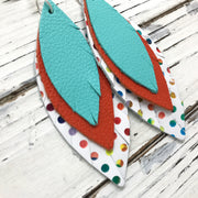 INDIA - Leather Earrings  ||  ROBINS EGG BLUE, MATTE ORANGE, MULTICOLOR POLKADOTS