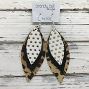 INDIA - Leather Earrings  ||  WHITE WITH GOLD POLKADOTS, SHIMMER BLACK, CHEETAH