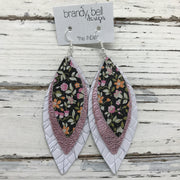 INDIA - Leather Earrings  || BLACK MINI FLORAL, METALLIC LIGHT PINK, WHITE BASKETWEAVE