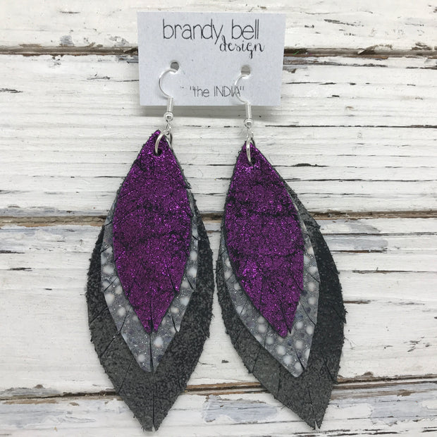 INDIA - Leather Earrings  || SHIMMER FUCHSIA, GRAY & WHITE STINGRAY, DISTRESSED BLACK & SILVER
