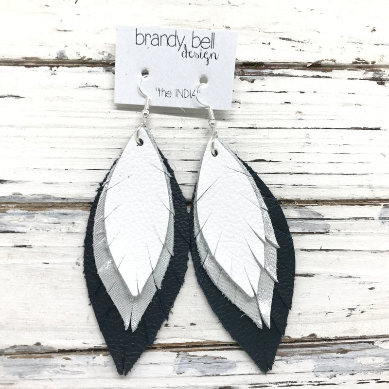 INDIA - Leather Earrings  || MATTE WHITE, SHIMMER SILVER, DARK *NAVY