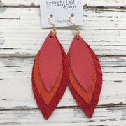 INDIA - Leather Earrings  || CORAL, ORANGE, METALLIC RED PEBBLED