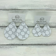 ZOEY (3 sizes available!) -  Leather Earrings  ||  MATTE WHITE PERFORATED DOTS
