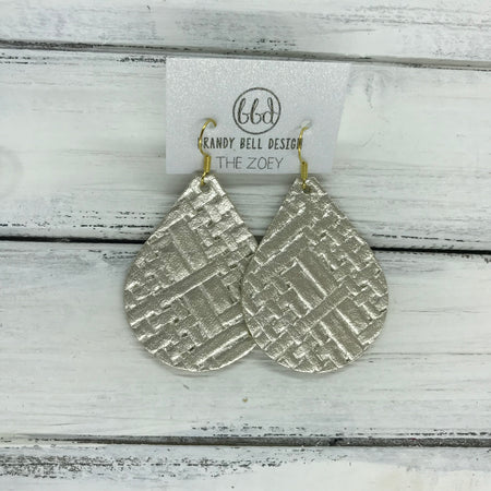 miniZOEY + ZOEY -  Leather Earrings  ||  METALLIC CHAMPAGNE PANAMA WEAVE