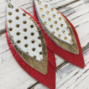 INDIA - Leather Earrings  || WHITE WITH GOLD POLKADOTS, METALLIC GOLD, METALLIC RED