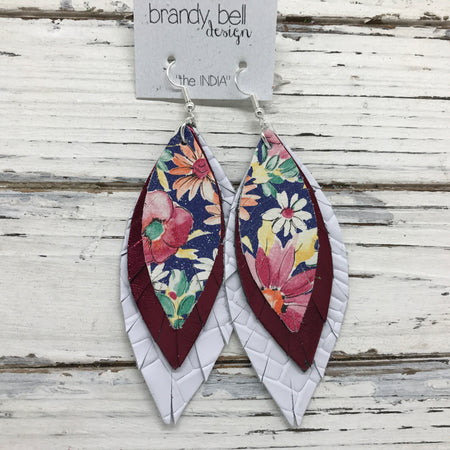 INDIA - Leather Earrings  || FLORAL ON BLUE, METALLIC BURGUNDY, WHITE BASKETWEAVE