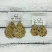 ZOEY (3 sizes available!) -  Leather Earrings  ||  CORK PRINTED LEATHER