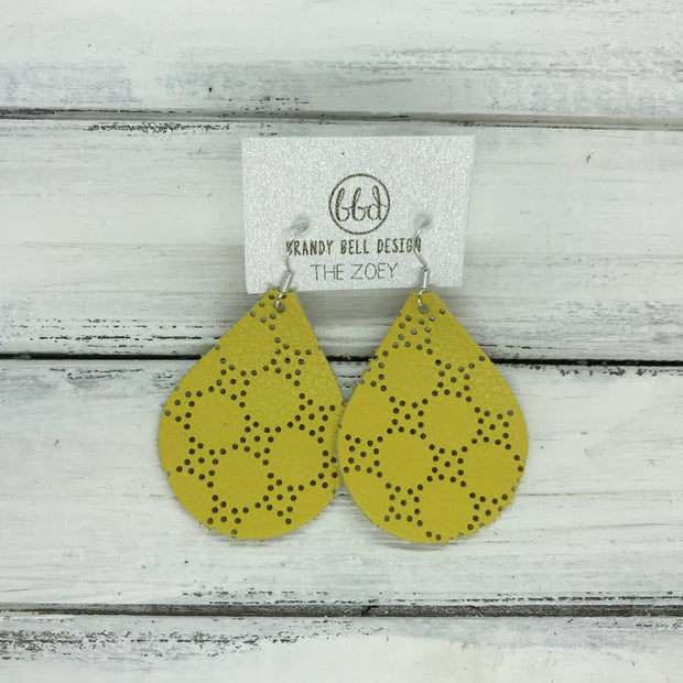 ZOEY (3 sizes available!) -  Leather Earrings  ||  YELLOW PERFORATED DOTS