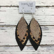 INDIA - Leather Earrings  || METALLIC ROSE GOLD DRIPS, CHEETAH, SHIMMER BLACK