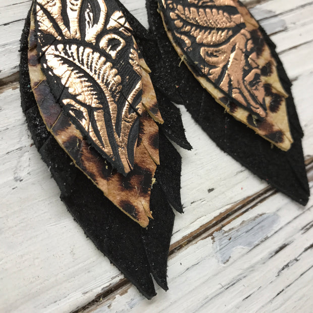 INDIA - Leather Earrings  || METALLIC COPPER FLORAL, CHEETAH, SHIMMER BLACK