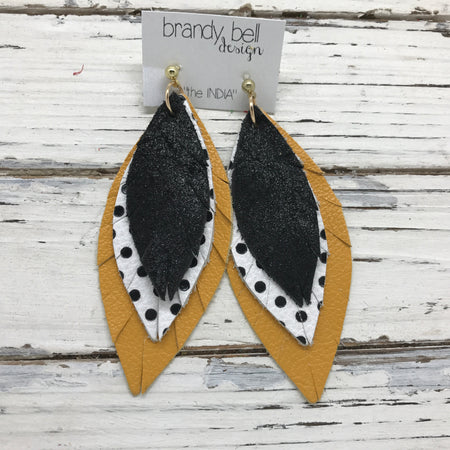 INDIA - Leather Earrings  || SHIMMER BLACK, WHITE WITH BLACK POLKADOTS, MATTE MUSTARD