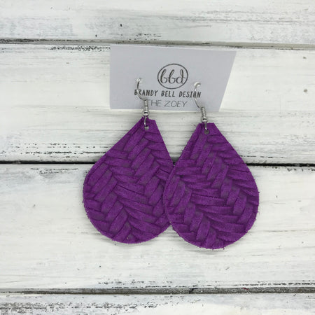 miniZOEY + ZOEY -  Leather Earrings  ||  PURPLE BRAIDED