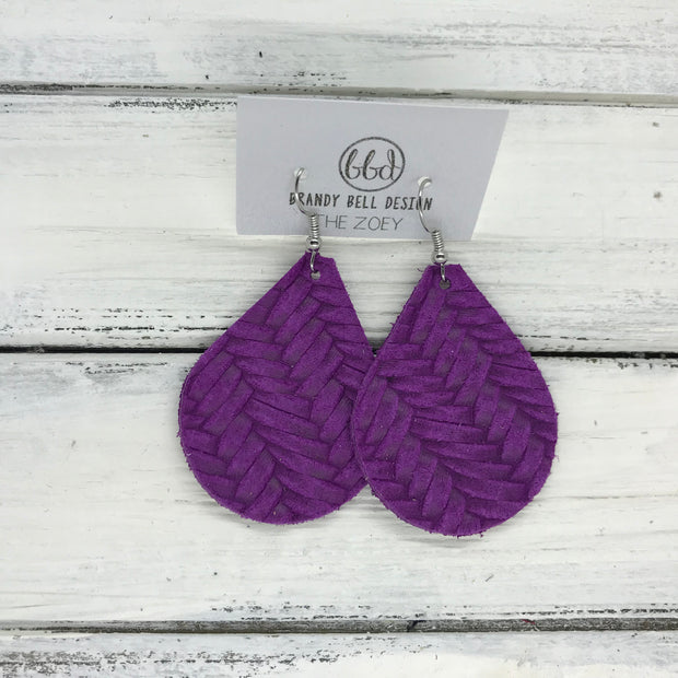 ZOEY (3 sizes available!) -  Leather Earrings  ||  PURPLE BRAIDED