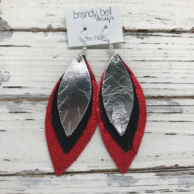 INDIA - Leather Earrings  || METALLIC SILVER, SHIMMER BLACK, METALLIC RED PEBBLED