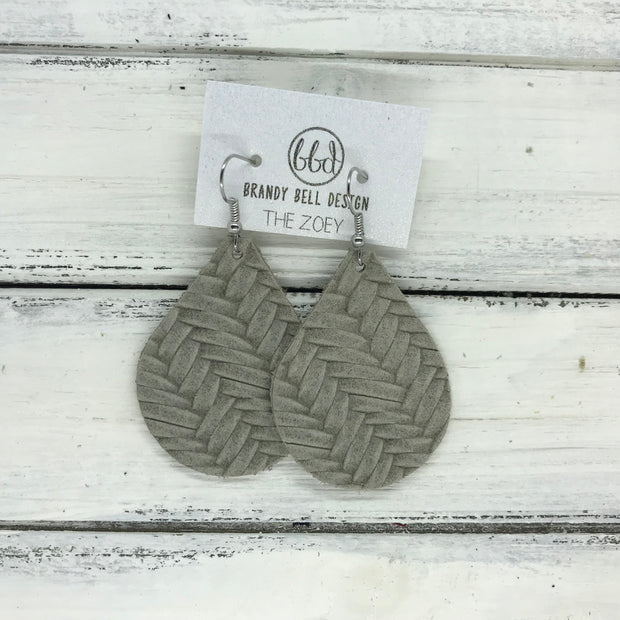 ZOEY (3 sizes available!) -  Leather Earrings  ||  GRAY BRAIDED