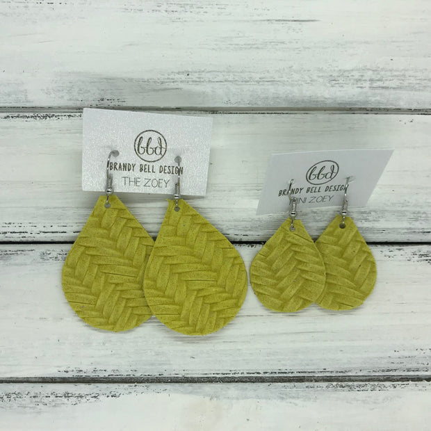 ZOEY (3 sizes available!) -  Leather Earrings  ||  YELLOW BRAIDED
