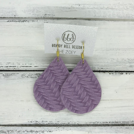 miniZOEY + ZOEY -  Leather Earrings  ||  LAVENDER BRAIDED