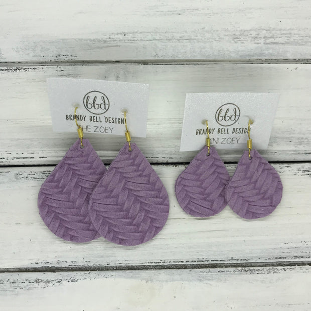 ZOEY (3 sizes available!) -  Leather Earrings  ||  LAVENDER BRAIDED