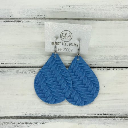 miniZOEY + ZOEY -  Leather Earrings  ||  BRIGHT BLUE BRAIDED