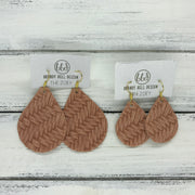ZOEY (3 sizes available!) -  Leather Earrings  ||  SALMON BRAIDED