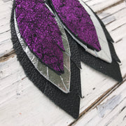 INDIA - Leather Earrings  ||   SHIMMER FUCHSIA, METALLIC SILVER, MATTE BLACK