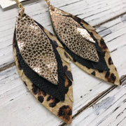 INDIA - Leather Earrings  ||   METALLIC ROSE GOLD DRIPS, MATTE BLACK, CHEETAH