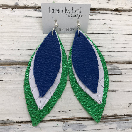 INDIA - Leather Earrings  ||   MATTE COBALT BLUE, WHITE BASKETWEAVE, METALLIC BRIGHT GREEN