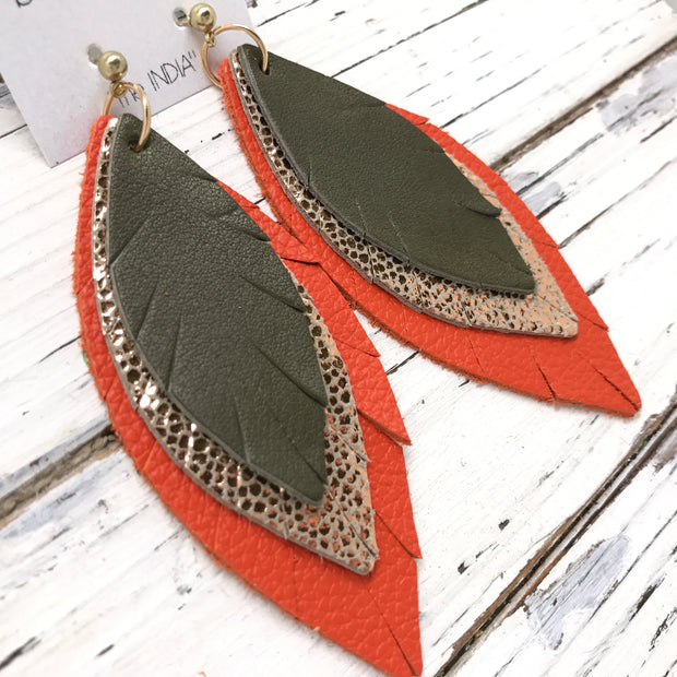INDIA - Leather Earrings  ||   MATTE OLIVE GREEN, METALLIC ROSE GOLD DRIPS, MATTE ORANGE