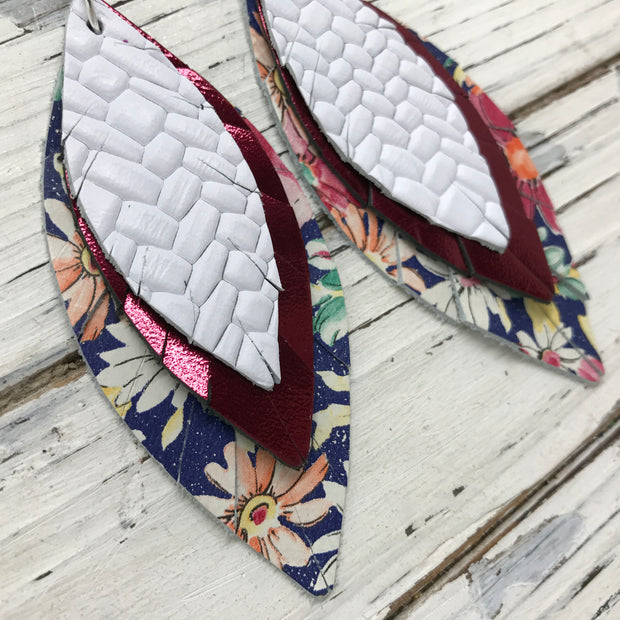 INDIA - Leather Earrings  ||   WHITE BASKETWEAVE, METALLIC BURGUNDY, FLORAL ON BLUE