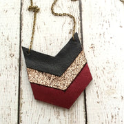 EMERSON - Leather Necklace  || MATTE BLACK, METALLIC CRACKLE COPPER, METALLIC BURGUNDY